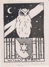 Ex-libris Willy STERN dessiné par Mihajlo STERN, de Zagreb (Croatie) 1930