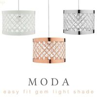 Moda Metal Sparkle Gems Modern Easy Fit Lamp Light Shade Decoration Pendant