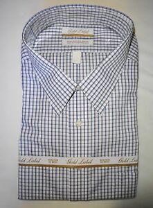 Roundtree Yorke Dress Shirt Purple Check Pattern 18.5 - 36/37 TALL NWT (BT-42)