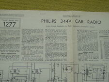 Trader Service Sheet No1277 Philips 344V Car Radio 4-Valve 2-Band MotoRadio1956