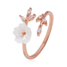 Engagement Resizable Rose Gold Plated Delicate Shell Flower Leaf Crystals Ring
