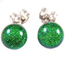 "DICHROIC Post EARRINGS Tiny 1/4"" 7mm Emerald Green Fused GLASS STUDS Dichro Dots"