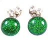 "DICHROIC GLASS Post EARRINGS Tiny 1/4"" 7mm Bright Green Emerald Fused STUDS Dots"