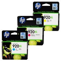 3 X GENUINE 2016 DATED HP 920XL CYAN MAGENTA YELLOW INK 6000 6500 7000 7500 A WF