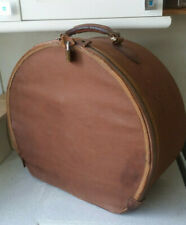 VINTAGE MASSIVE CANVAS & LEATHER HAT BOX- 16 X 18 INCHES- NEEDS CLEAN