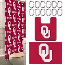 Oklahoma Sooners NCAA 15-Piece Bath Set Shower Curtain, Rings Rugs ~ View n Read