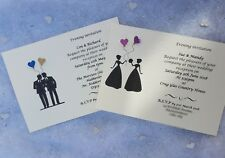 50 Personalised Gay lesbian Wedding Civil Ceremony day / evening invitations