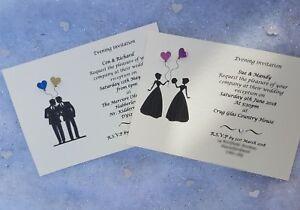 50 Personalised Gay lesbian Wedding Civil Ceremony day / evening invitations