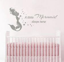 Wall Decals for Girls Little Mermaid Sleeps Here Nautical Nursery Sticker FD180