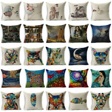 """18""""Oil Painting Pattern Cotton Linen Throw Pillow Case Cushion Cover Home Decor"""