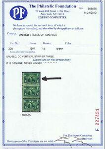GENUINE SCOTT #328 MINT OG NH 1907 GREEN PSE CERT 1¢ JAMESTOWN EXPOSITION #8377