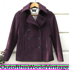 J. Crew PURPLE DOUBLE BREASTED PEACOAT 100% Wool Retro Vtg Military Womens Sz XS