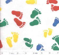 Baby Feet White FLANNEL Quilt Fabric - 3/4 Yard Piece