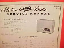 1950 MOTOROLA AUTO CAR AM RADIO FACTORY SERVICE SHOP REPAIR MANUAL MODEL 600