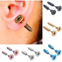 2 Pcs Women Men Punk Stainless Steel Screw Ear Studs Unisex Earrings Jewelry