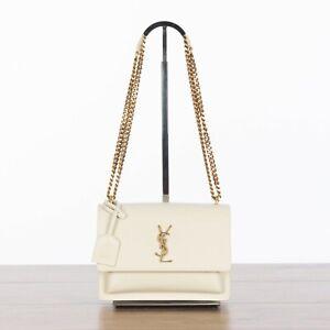 SAINT LAURENT 2290$ Sunset Medium In Vintage White Smooth Leather
