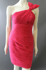 Stunning PHOEBE COUTURE Fushia Pink Ruched Shirred COCKTAIL DRESS 6 S