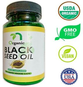 Organic Cold Pressed Black Seed Oil Liquid Capsule - 1250 mg, 60 Veg Soft Gels.