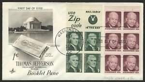 #1278b & 1395b Jefferson & Eisenhower, Art Craft FDC ANY 5=