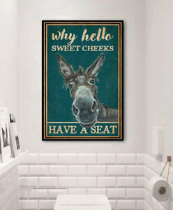 Why Hello Sweet Cheeks Have A Seat- Donkey Poster- Poster Vintage