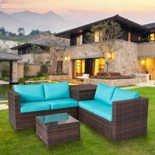 4-piece Patio Furniture Set Rattan Wicker Sectional Sofa Conversation Set