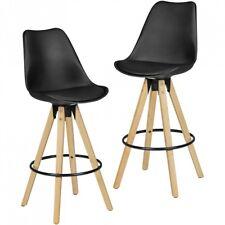 2er Set Barhocker Retro Design Stoff Holz mit Lehne Barstühle Tresenhocker Neu