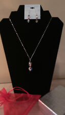 "925 STER. SILVER  -18"" chain & pendant & ear rings with  Swaroski crystals"