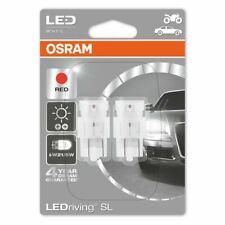 OSRAM LED W21/5W 580 (T20 DC) 12V 7716R-02B Red Wedge Bulbs W3x16q Twin