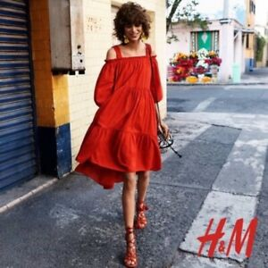 H&M SWISS DOT COTTON TIER DRESS 14 BLOGGERS FAVE Burnt Orange / Ochre / rust