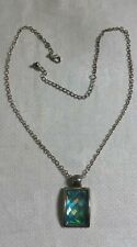 "Silvertone Metal Link Chain Plastic Hologram Rectangle Pendant 19.5"" Necklace"