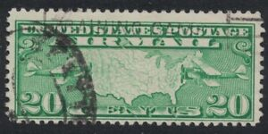 Scott C9- Used- 20c Map and Mail Planes- U.S. Airmail, 1927 stamp