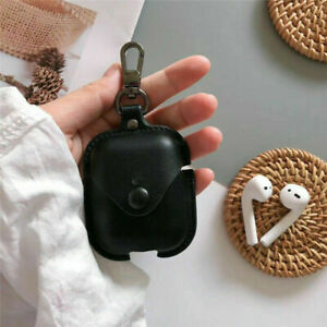 For Airpod Charging Case Leather Case Cover Protective Skin Keychain Dustproof
