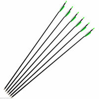 """6X30"""" Archery Carbon Arrows Green Fletching Spine 700 For Recurve Bow Hunting"""