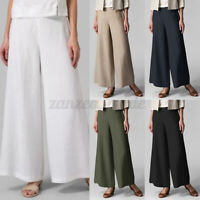 UK Womens Cotton Chino Elastic Waist Flared Wide Leg Pants Casual Loose Trousers