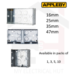 Metal Back Boxes Single Double Dual 16mm 25mm 35mm 47mm 1G 2G APPLEBY
