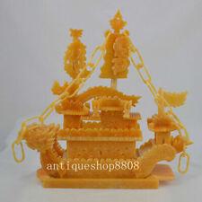 """16"""" Chinese Natural Yellow Jade Zodiac Phoenix Dragon Sailing Boat Ship Treasure"""