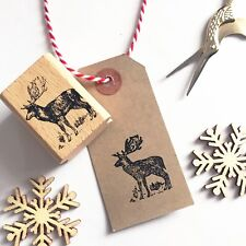 Wooden Rubber Christmas Stamp - Stag Reindeer Rustic Country - Printing Stamps