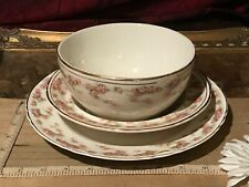 3 Piece Antique Vintage Dresden China Pink Rose Plate & 2 Bowls