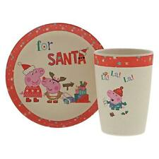 Peppa Pig Bamboo Christmas Eve Set Kids Beaker Cup & Plate Eco Friendly Gift