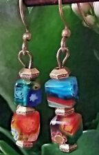 ETRUSCAN MURANO GLASS AND BRASS PIERCED EARRINGS