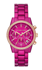NEW Michael Kors Ladies Ritz Pink Chronograph Watch MK6718 RTV $275