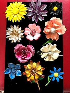 LOT = COLLECTION OF 11 VINTAGE ENAMEL COLORFUL FLOWER PINS