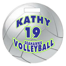 """Personalized VOLLEYBALL BAGTAG LUGGAGE TAG 4"""" Round Sports Duffle Bags Backpacks"""