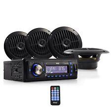 "Marine Boat Stereo Receiver & 4/6.5"" Waterproof Speakers System AM/FM Radio"