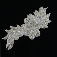 Sew  Iron On Beaded Rhinestone Silver Applique Bridal Dress Patch Motif Diamante