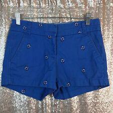 J. Crew Chino Women's Blue Anchor Print Casual Summer Cotton Shorts Size 00