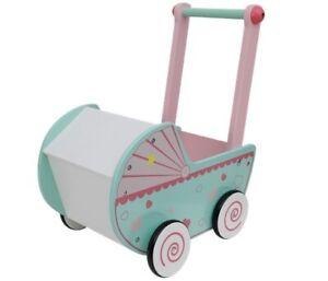 Holzpuppenwagen Holzwagen Holzspielzeug Lauflernwagen Kinderwagen Lauflernhilfe