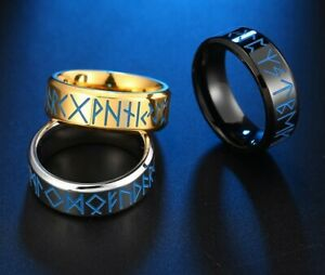 Viking Norse Silver/Gold/Black Stainless Steel Runes Light Luminous Ring Band