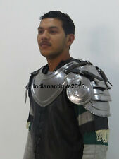 Armour Gothic Gorget Set with Pauldrons Shoulder Guard Chrome One Size