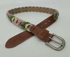 Lucky Brand Leather Belt 34 Patchwork Chain Flower Floral BURUD086